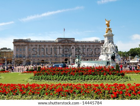 Buckingham Palace and gardens in a clear day - stock photo