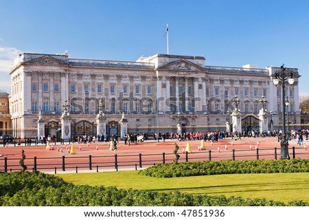 Buckingham Palace and gardens in London in a beautiful day - stock photo