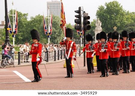 Buckingham Palace guards parade - stock photo