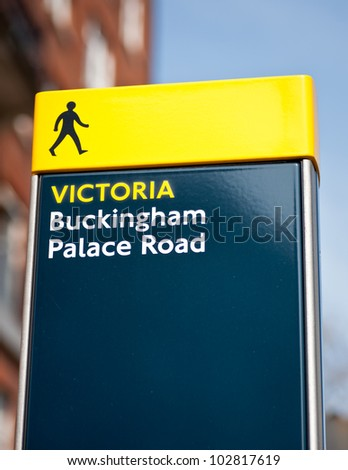 Buckingham palace road sign in London, UK