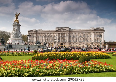Buckingham Palace with crowed of visitors in spring time. - stock photo
