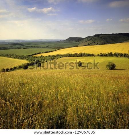 Buckinghamshire Chilterns. The View from the Ridgeway path. - stock photo