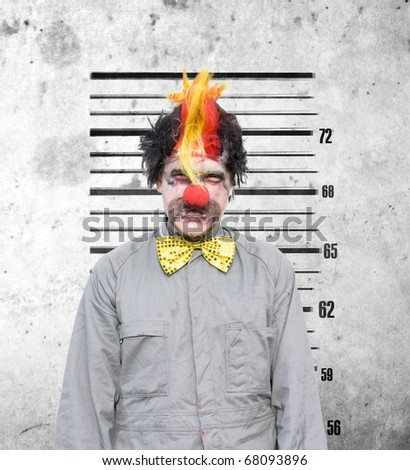 Bucko The Soon To Be Married Clown Looks Very Unhappy During A Funny Police Identification Photo After A Bucks Party Gone Wrong - stock photo