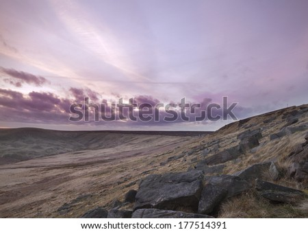 Buckstone edge sunset Landscape in calderdale - stock photo