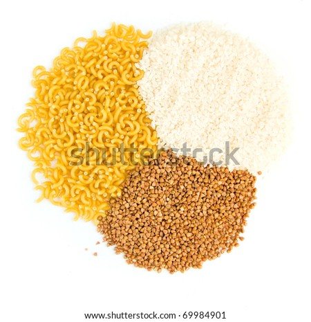 buckwheat groats and rice, pasta on a white background - stock photo