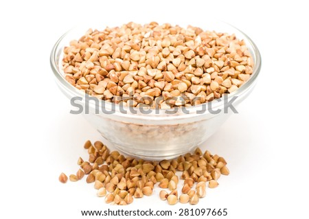 buckwheat groats on a white background