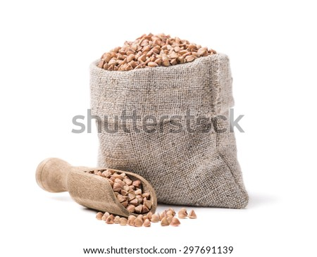 Buckwheat in the bag isolated on white background