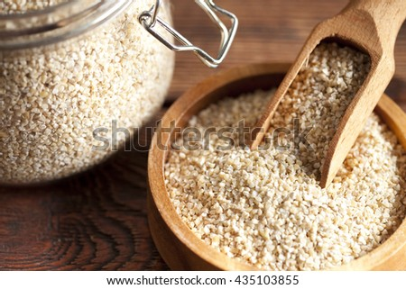 Buckwheat in wooden bowl