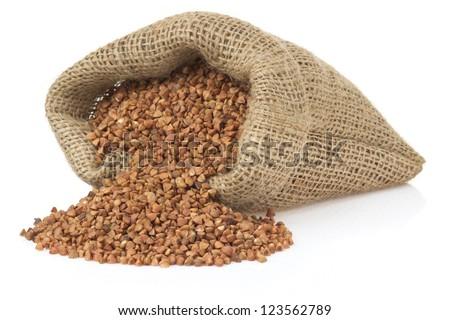 buckwheat isolated on white background - stock photo