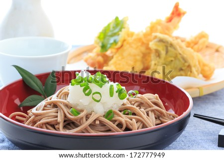 Buckwheat noodles with  grated radish - stock photo