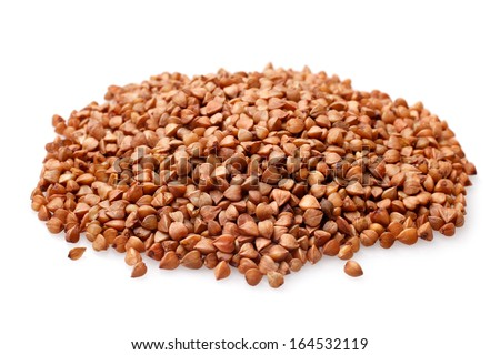 Buckwheat on a white background - stock photo