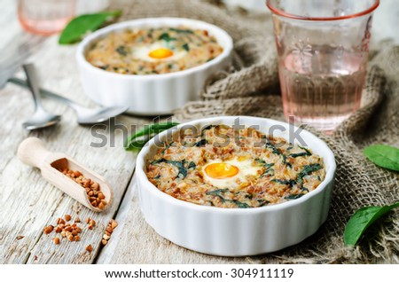 buckwheat spinach cheese egg casserole. the toning. selective focus - stock photo