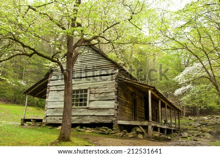 Bud Ogle Place in spring in The Great Smoky Mountains. - stock photo