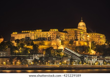 Buda Castle from the Danube River in Budapest - stock photo