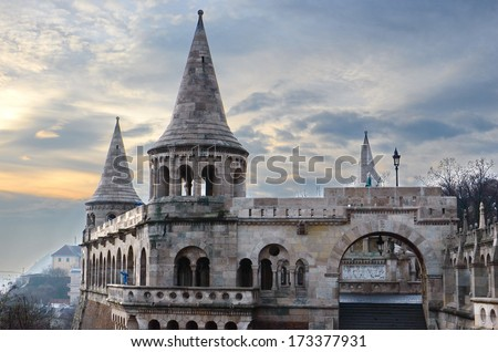 Buda castle in the morning, Budapest  - stock photo