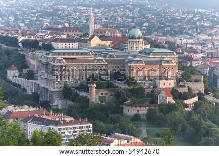 BUDA CASTLE IS THE HISTORICAL CASTLE COMPLEX OF THE HUNGARIAN KINGS IN BUDAPEST, HUNGARY, FIRST COMPLETED IN 1265 IN THE PAST, IT WAS ALSO CALLED ROYAL PALACE  - stock photo