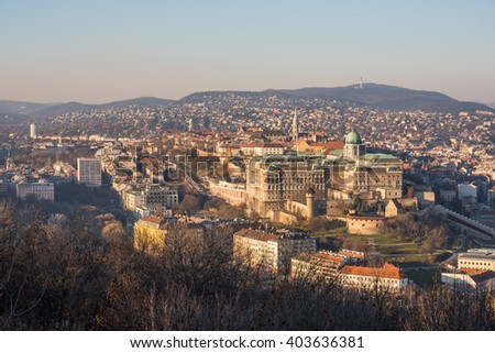 Buda Castle or Royal Palace in Budapest, Hungary Lit by Setting Sun - stock photo