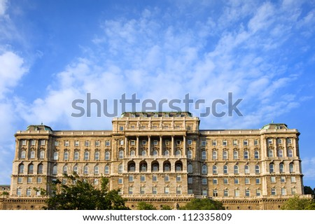 Buda Castle (Royal Palace) back side view, 18th century Baroque style facade in Budapest, Hungary.