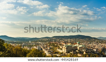 Buda Castle with Royal Palace and Matthias Church in Budapest, Hungary. View from the Gellert Hill - stock photo