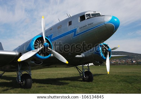 BUDAORS, HUNGARY - APRIL 22: a Soviet aircraft named Lisunov Li-2 on display at the (G)Old-timer Day show on April 22, 2012 in Budaors, Hungary
