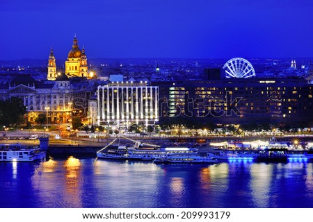 Budapest and Danube river panoramic view at blue hour, Hungary, Europe - stock photo