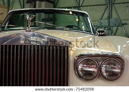 BUDAPEST-APRIL 15: Front detail of American 1973's Rolls Royce Corniche on display at the  5th Oldtimer Expo on April 15, 2011 in Budapest, Hungary
