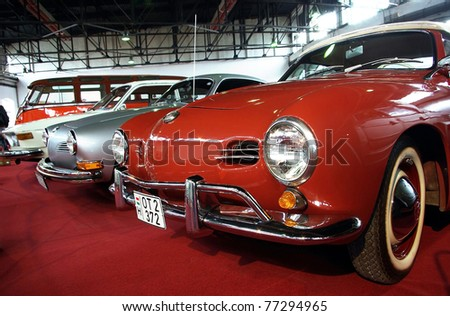 BUDAPEST-APRIL 15: Front of 1969's Karmann Ghia cars at the 5th Oldtimer Expo on April 15, 2011 in Budapest, Hungary - stock photo