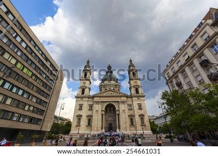 BUDAPEST - April 30 2014: St. Stephen (St. Istvan) Basilica in Budapest, Hungary. The church was built in Neo-Classic style, but with Neo-Renaissance dome, between 1851 and 1905.  - stock photo