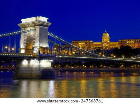 Budapest at night. Chain Bridge, Royal Palace and Danube river - stock photo