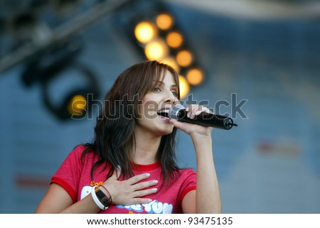 BUDAPEST - AUG 11: Australian pop singer Natalie Imbruglia performs at the annual Sziget Festival in Budapest, Hungary, on Wednesday August 11, 2005.