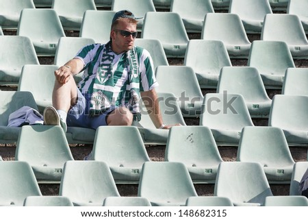 BUDAPEST - AUGUST 4: A lonely unidentified fun of FTC during FTC vs. Videoton OTP Bank League football match at Puskas Stadium on August 4, 2013 in Budapest, Hungary.  - stock photo