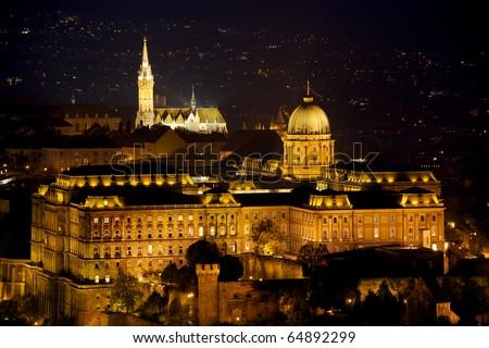 Budapest by night / Buda Castle - stock photo