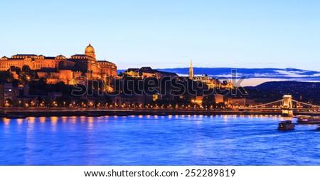Budapest castle, Danube  and Chain Bridge at night.   Hungary  - stock photo