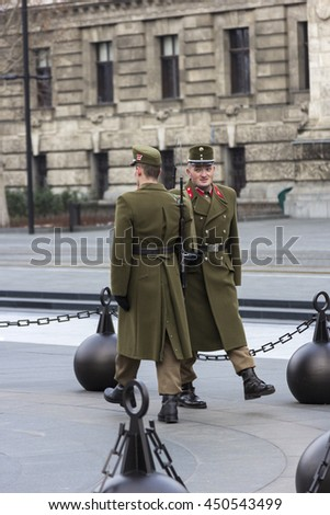 BUDAPEST, CENTRAL HUNGARY/HUNGARY - FEBRUARY 1, 2015: Hungarian soldiers in Budapest.