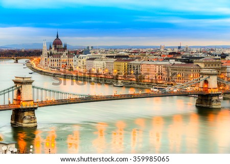 Budapest, Chain Bridge and Parliament. Hungary - stock photo