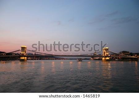 Budapest Chain Bridge by night - stock photo