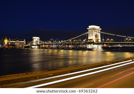 Budapest chain bridge panorama by night - stock photo