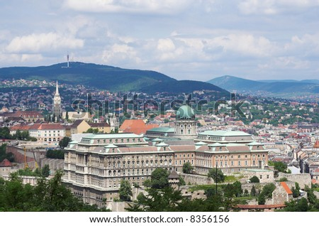 Budapest city panorama with the river Danube 3. - stock photo