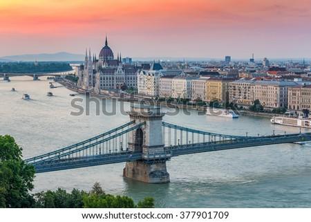 Budapest city skyline when sunset, Hungary - stock photo