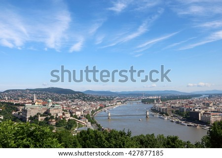 Budapest city view with castle hill, chain bridge and parliament building along Danube River, with interesting cloud patterns in the sky - stock photo