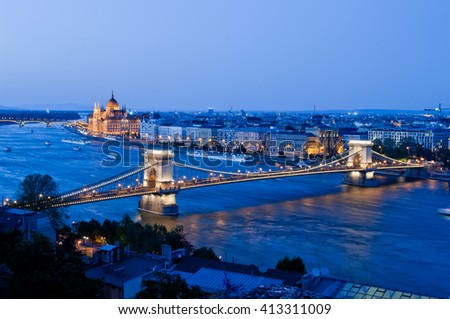 Budapest city with Chain Bridge and Parliament Building, Budapest, Hungary