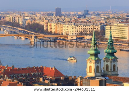 Budapest cityscape with church towers and Danube river, Budapest, Hungary - stock photo
