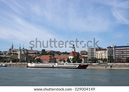 Budapest Danube riverside with old buildings - stock photo