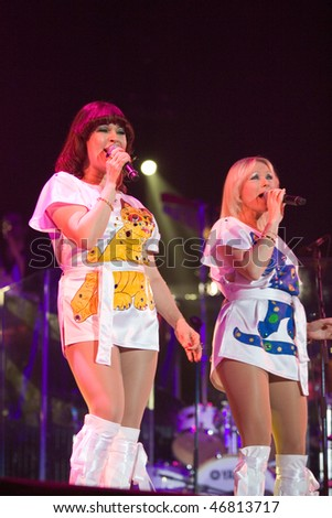 BUDAPEST - FEBRUARY 13: Members of the ABBA The Show perform on stage at Sportarena on February 13, 2010 in Budapest, Hungary.