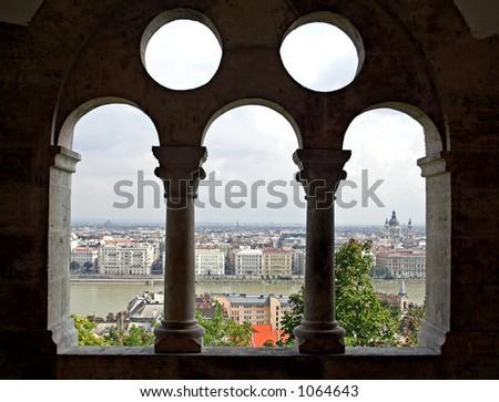 Budapest from Fishermen's Bastion - stock photo