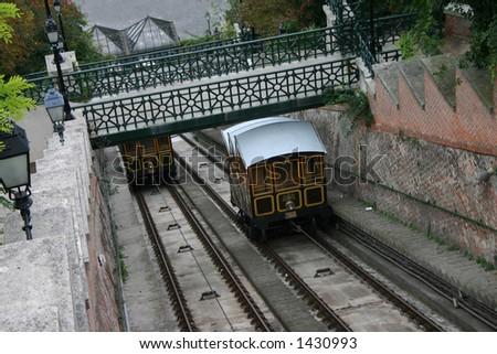 Budapest funicular - stock photo
