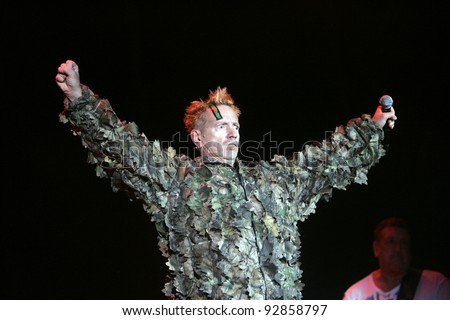 BUDAPEST, HUNGARY - APR 15: The Sex Pistols -  John Lydon (aka Johnny Rotten), Steve Jones (guitar), perform in concert at the annual Sziget music festival in Budapest, Hungary, on Friday, August 15, 2008.