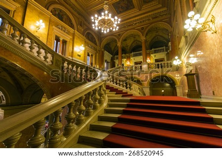 BUDAPEST, HUNGARY- APRIL 11 2015: interior of the Hungarian Royal Opera House,  considered one of the architect's masterpieces and has the third best acoustics in Europe. - stock photo