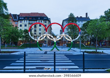 BUDAPEST, HUNGARY APRIL 2, 2014: Olympic circles colored in the national colors of Hungary, on the Budapest street. - stock photo