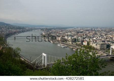 Budapest, Hungary - April 10, 2016: River Danube in Budapest Hungary with riverbanks and ships
